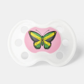 Jamaican Butterfly Flag on Pink Pacifier