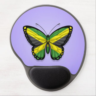 Jamaican Butterfly Flag on Purple Gel Mouse Pad