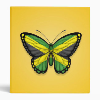 Jamaican Butterfly Flag on Yellow Vinyl Binders