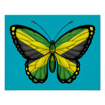 Jamaican Butterfly Flag Poster