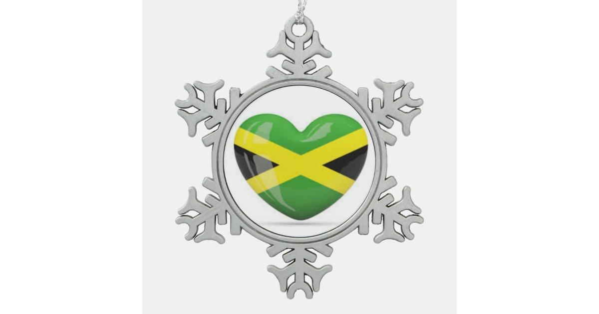 Jamaican Christmas Ornament: Jamaican Flag Heart Snowflake ...
