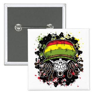 Jamaican Corn Rolls Hair Skull Paint Splashes Button