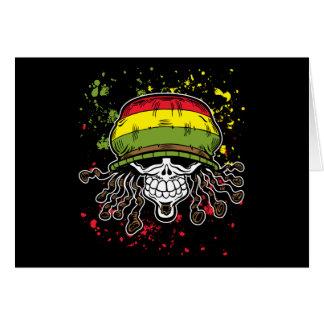 Jamaican Corn Rolls Hair Skull Paint Splashes Card