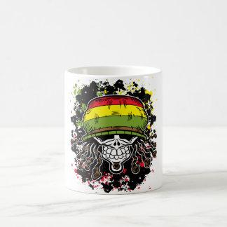 Jamaican Corn Rolls Hair Skull Paint Splashes Coffee Mug