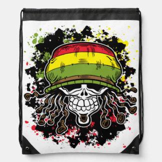 Jamaican Corn Rolls Hair Skull Paint Splashes Drawstring Backpack