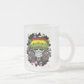 Jamaican Corn Rolls Hair Skull Paint Splashes Frosted Glass Coffee Mug