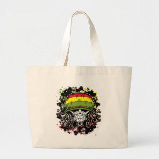 Jamaican Corn Rolls Hair Skull Paint Splashes Large Tote Bag