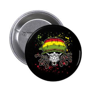 Jamaican Corn Rolls Hair Skull Paint Splashes Pinback Button