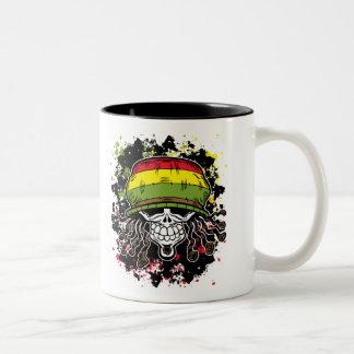 Jamaican Corn Rolls Hair Skull Paint Splashes Two-Tone Coffee Mug