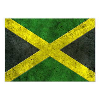 Jamaican Flag Aged Steel Effect 3.5x5 Paper Invitation Card