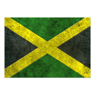Jamaican Flag Aged Steel Effect Personalized Announcement