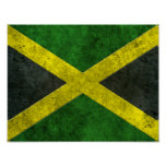 Jamaican Flag Aged Steel Effect Poster