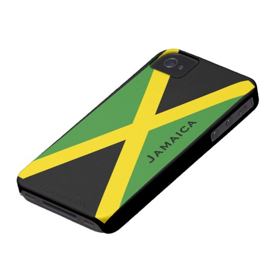 Jamaican Flag Black Green Yellow Optional Wording iPhone 4 Case