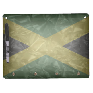 Jamaican Flag - Crinkled Dry Erase Board With Keychain Holder
