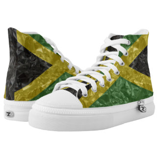 Jamaican Flag - Crinkled High-Top Sneakers