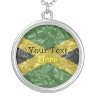 Jamaican Flag - Crinkled Silver Plated Necklace