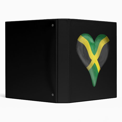 Jamaican Flag In A Heart 3 Ring Binders