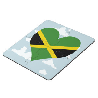 Jamaican Flag on a cloudy background Puzzle Coaster