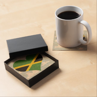 Jamaican Flag on a cloudy background Beverage Coasters
