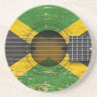 Jamaican Flag on Old Acoustic Guitar Drink Coaster