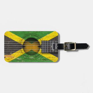 Jamaican Flag on Old Acoustic Guitar Luggage Tag