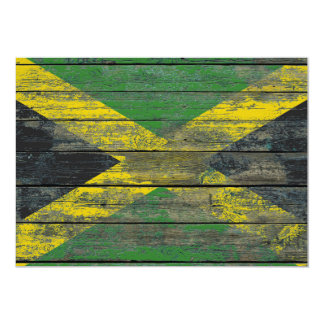 Jamaican Flag on Rough Wood Boards Effect Card