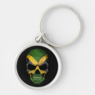 Jamaican Flag Skull on Black Keychain