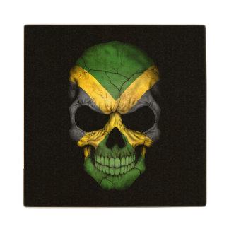 Jamaican Flag Skull on Black Maple Wood Coaster