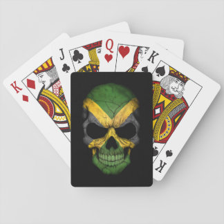 Jamaican Flag Skull on Black Deck Of Cards