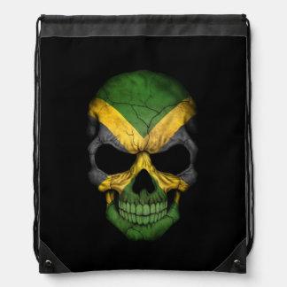 Jamaican Flag Skull on Black Drawstring Backpack