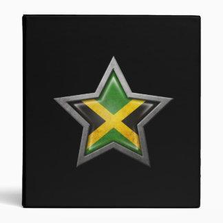 Jamaican Flag Star on Black 3 Ring Binder