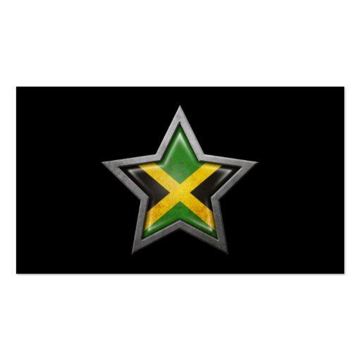 Jamaican Flag Star on Black Business Card