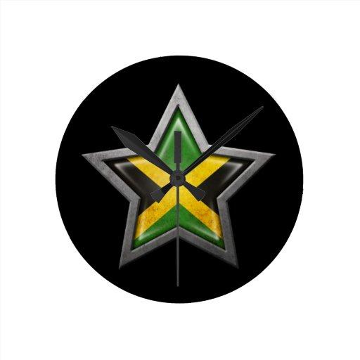 Jamaican Flag Star on Black Round Wall Clock
