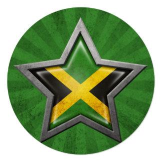 Jamaican Flag Star with Rays of Light Card