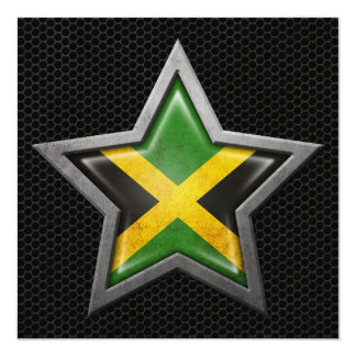 Jamaican Flag Star with Steel Mesh Effect Card