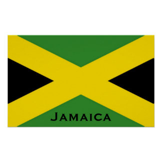 Jamaican Flag To The Edge with Jamaica Word Poster