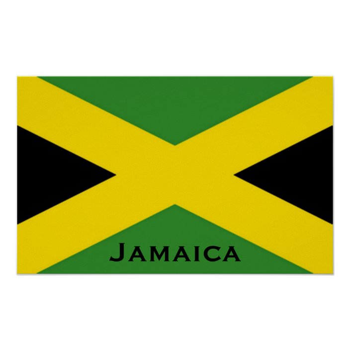 Jamaican Flag To The Edge With Jamaica Word Poster Zazzle Com