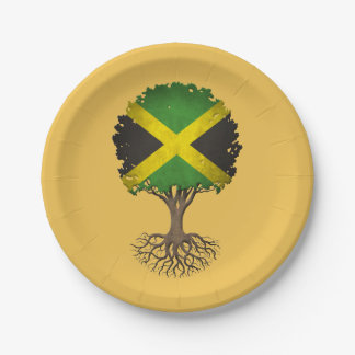 Jamaican Flag Tree of Life Customizable 7 Inch Paper Plate
