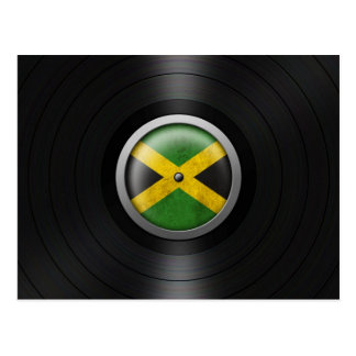 Jamaican Flag Vinyl Record Album Graphic Postcard