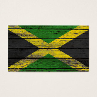 Jamaican Flag with Rough Wood Grain Effect Business Card