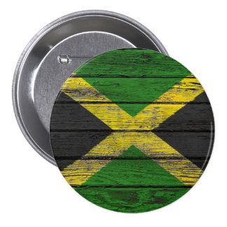 Jamaican Flag with Rough Wood Grain Effect Button