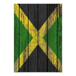 Jamaican Flag with Rough Wood Grain Effect Card