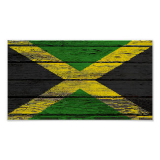 Jamaican Flag with Rough Wood Grain Effect Poster