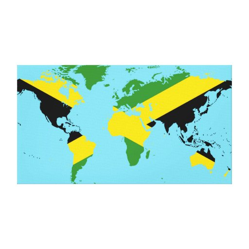 Jamaican Flag World Map Wrapped Canvas Print