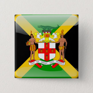 Jamaican glossy flag pinback button
