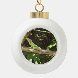 Jamaican Green Lizard Ceramic Ball Christmas Ornament