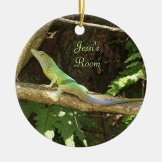 Jamaican Green Lizard Ceramic Ornament