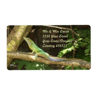 Jamaican Green Lizard Shipping Label