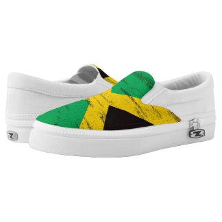 Jamaican Grunge Flag Slip-On Sneakers