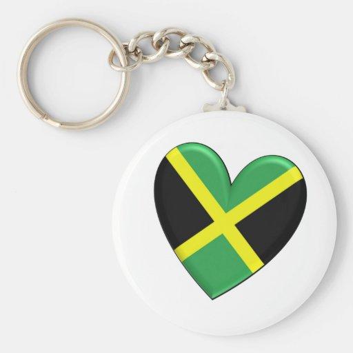 Jamaican Heart Flag Basic Round Button Keychain